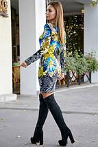 Короткое платье по фигуре с цветочным принтом цвет т.-синий с бирюзой, фото 3