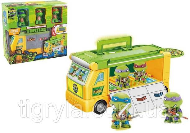 Игровой набор - Фургон с героями Черепашки ниндзя. Автобус, боевая машина с фигурками, фото 2