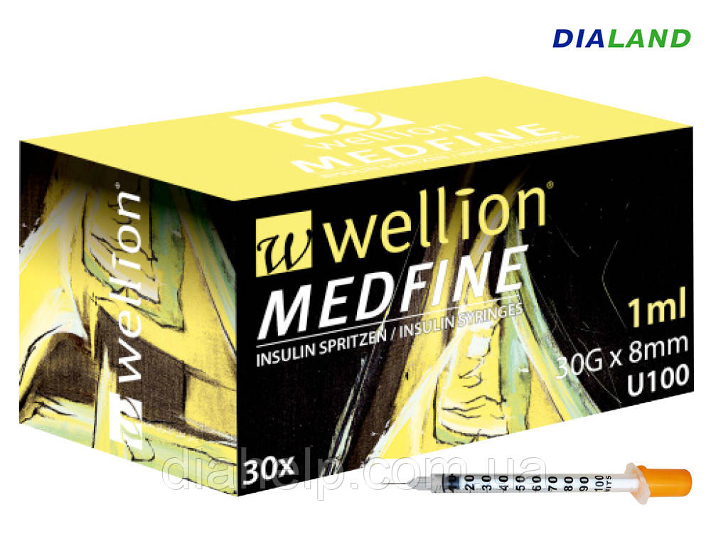 Шприц Веллион (Wellion MEDFINE) 1,0мл U-100 0,30 (30G)*8мм / 1шт