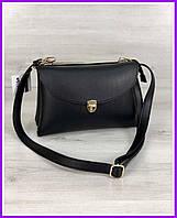 Женская сумка  маленькая  клатч черного цвета через плечо