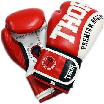 Боксерские перчатки Thor Shark 10, Натуральная кожа, красный