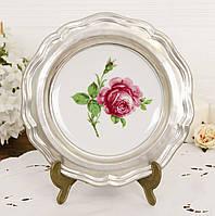 Коллекционная фарфоровая тарелка в оловянной раме, фарфор, олово, Германия, фото 1
