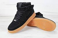 Мужские зимние кроссовки Nike Air Force Winter Black/Yellow (с мехом), фото 1