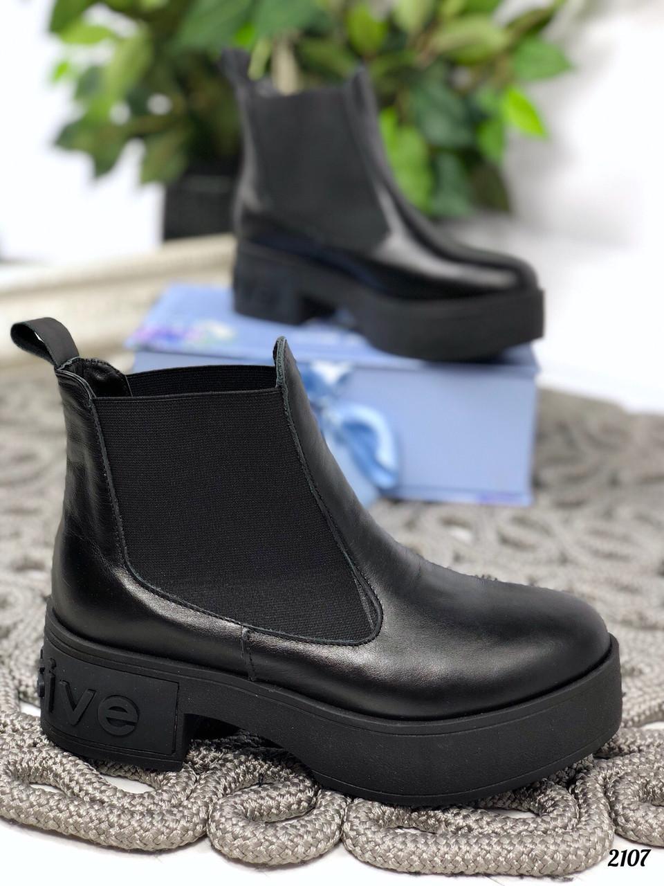 38р. Ботинки женские деми черные кожаные на среднем каблуке, демисезонные,из натуральной кожи,натуральная кожа