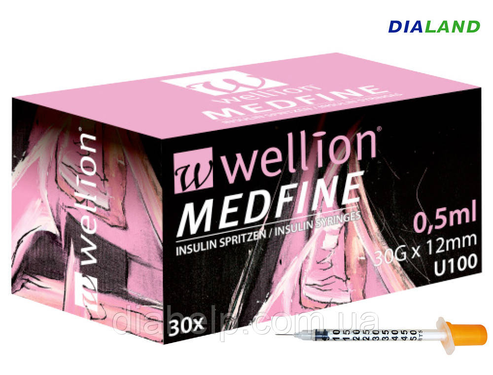 Шприц Веллион (Wellion MEDFINE) 0,5мл U-100 0,30 (30G)*12мм / 1шт