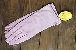Женские замшевые светло - розовые перчатки Средние