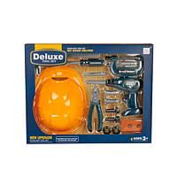 Детский игровой набор инструментов 3288-F2, шуруповерт, каска, отвертка, болты