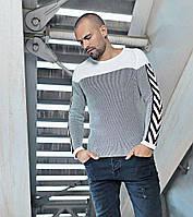 Кофта мужская стильная серого цвета с рукавом реглан