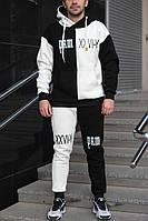 Мужской спортивный костюм на флисе черный с белым