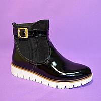 Женские зимние лаковые ботинки на утолщенной подошве, фото 1