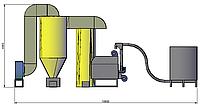 Теплогенеруюча установка ТГ-1.5 (прямої дії) працює на сухому дрібнофракційному біопаливі