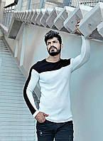 Кофта мужская стильная бело-черного цвета с рукавом реглан