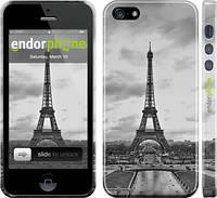 "Чехол на iPhone 5 Чёрно-белая Эйфелева башня ""842c-18"""