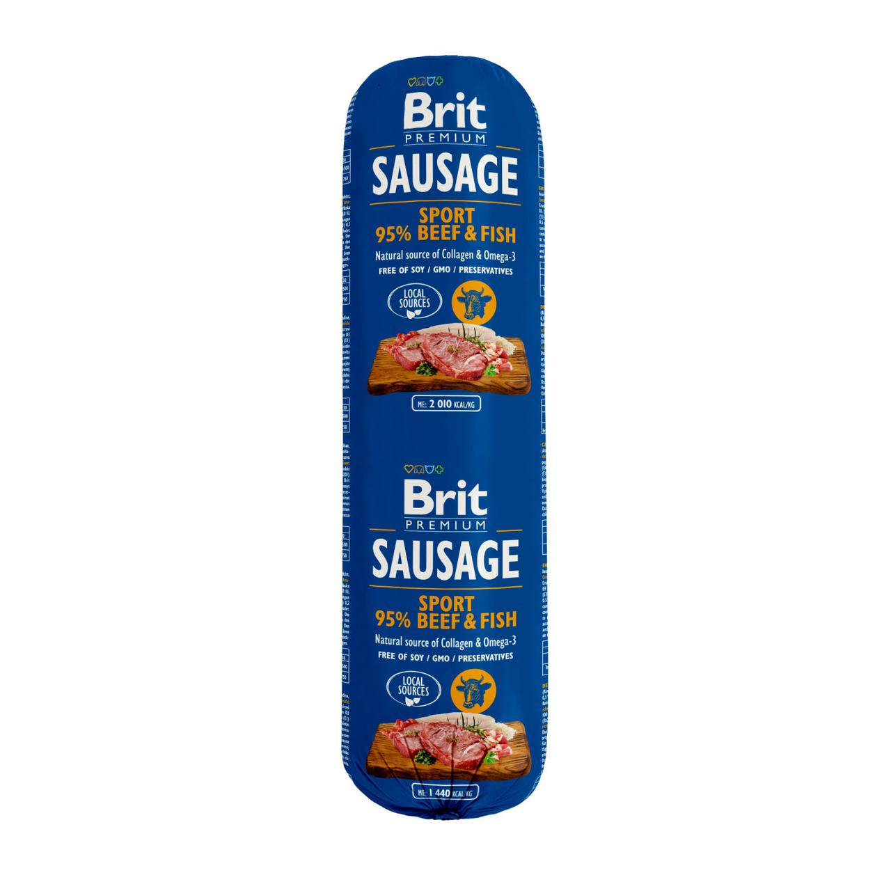 Колбаса Brit Premium Sausage Sport Beef Fish  для собак всех пород (говядина и рыба) 0,8 кг