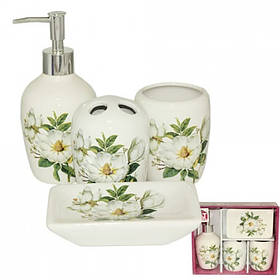Набор аксессуаров для ванной комнаты S&T 4 предмета Магнолия 887-06-004