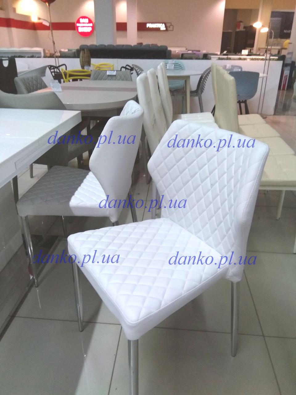 Штабелируемый стул Finiks MC-56 White (белый), экокожа + хром