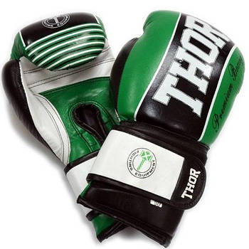 Боксерские перчатки Thor Thunder 10, Натуральная кожа, зеленый