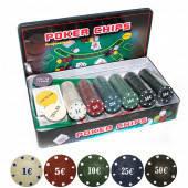 Покерный набор  Sports 300 фишек с номиналом + сукно (жестяная коробка) (OK-300)