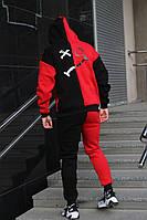 Мужской спортивный костюм на флисе черный с красным
