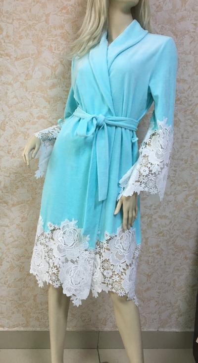 Халат женский Suavite, голубой, макраме