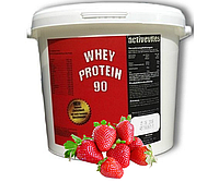 (Оригинал) Протеин ACTIVEVITES Whey Protein 90 4000g  клубника