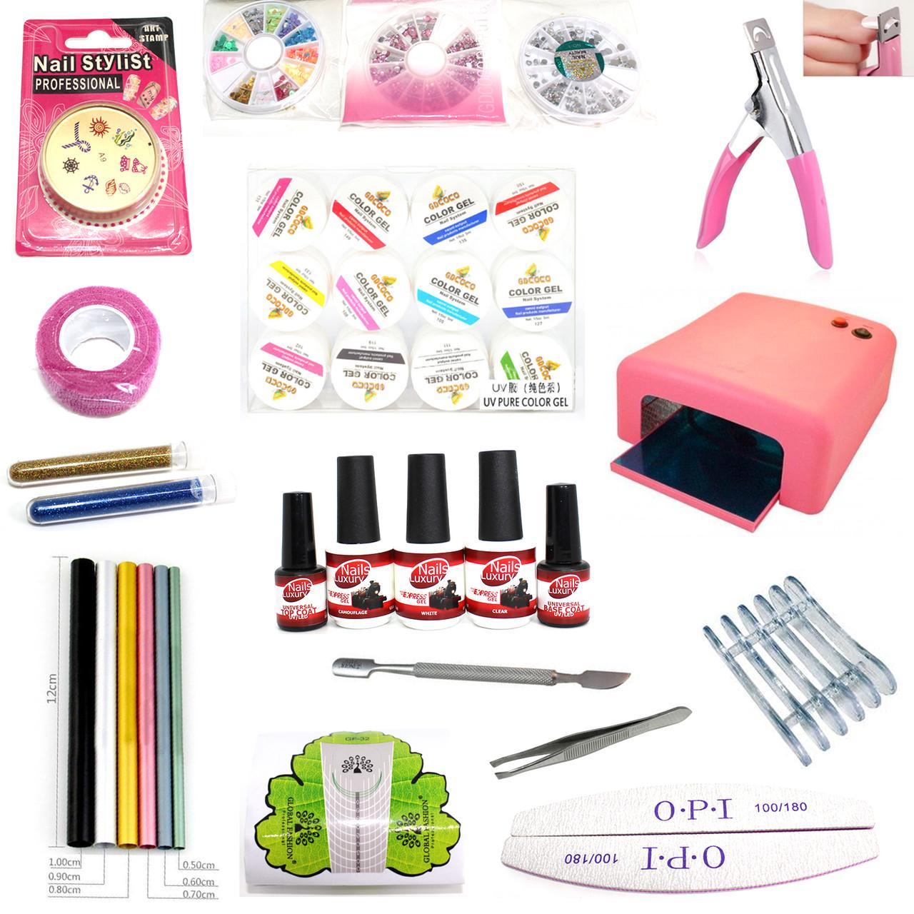 Набор для маникюра Nails Luxury №1 с Лампой 36 Вт. розовая