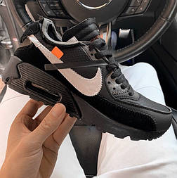 Мужские кроссовки Nike Air Max 90 Off-White Black черные. Живое фото (Реплика ААА+)
