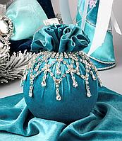 Елочный шар тканевый Бирюзовый ажур 10 см, ручная работа 085-150