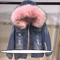 Стильная молодежная женская куртка ЗИМА  Размер один: 44-46  из плотного и эластичного джинсового материала на