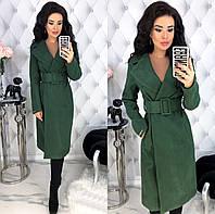 Женское кашемировое пальто с широким поясом с 42 по 48 рр