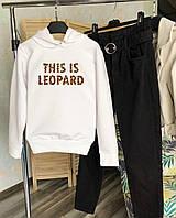 Женское теплое худи белое This Is Leopard