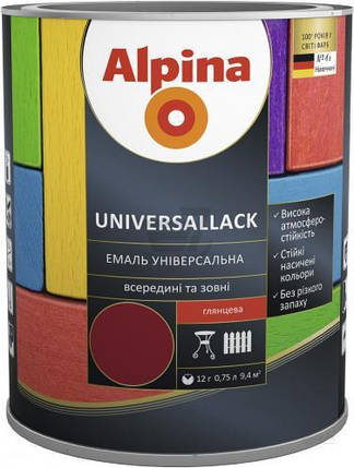 Эмаль алкидная Alpina universallack универсальная глянцевая темно-коричневая 2,5л, фото 2