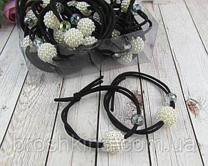 Резинки для волос тонкие с бусинами черные 30 шт/уп.