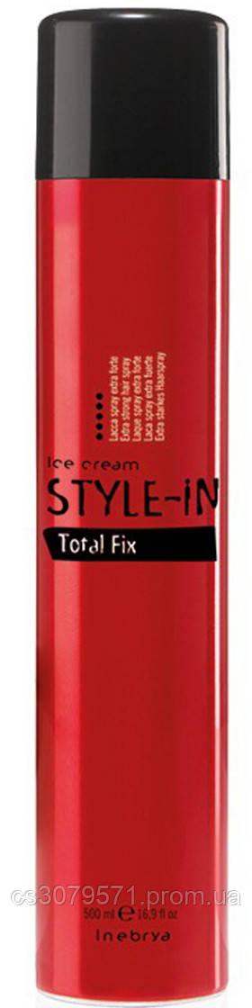 Лак для волос экстра сильной фиксации Inebrya Style-In Power Total Fix 500 мл
