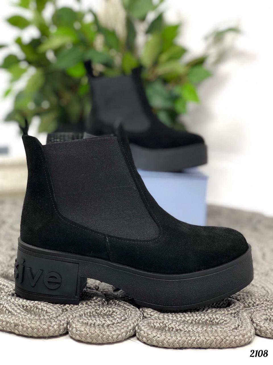 36 р. Ботинки женские деми черные замшевые на среднем каблуке, демисезонные, из натуральной замши, замша