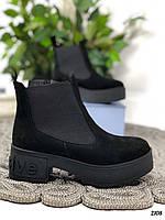 36 р. Ботинки женские деми черные замшевые на среднем каблуке, демисезонные, из натуральной замши, замша, фото 1