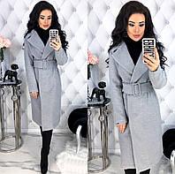 Женское кашемировое пальто с широким поясом