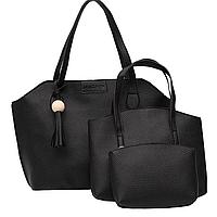 Жіноча сумка, маленька сумочка і гаманець набір чорний, фото 1
