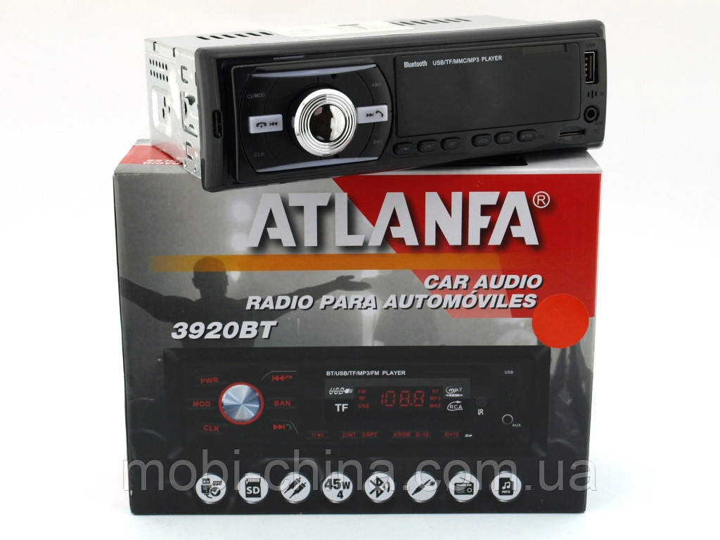 Atlanfa 1083BT car MP3 190W  4*45W  в стиле pioneer, FM автомагнитола с bluetooth