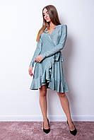Платье люрикс с воланом ЧИКА бирюзового цвета