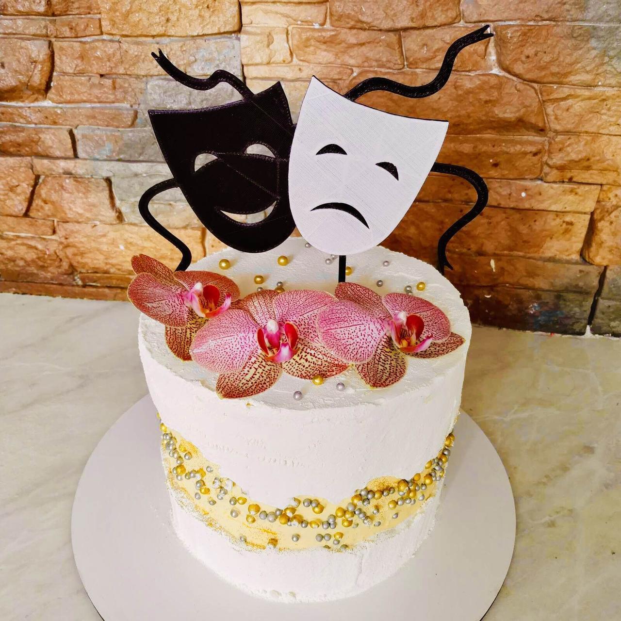 Топпер театральные Маски, Топпер смех и грусть, Топпер белая маска, Топпер черная маска, Fortune3D