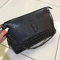 Женская Кожаная сумка с элементам рептилии , кожаные сумки , кожаный клатч