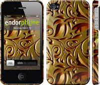 """Чехол на iPhone 4 Золотой металлический узор """"746c-15"""""""
