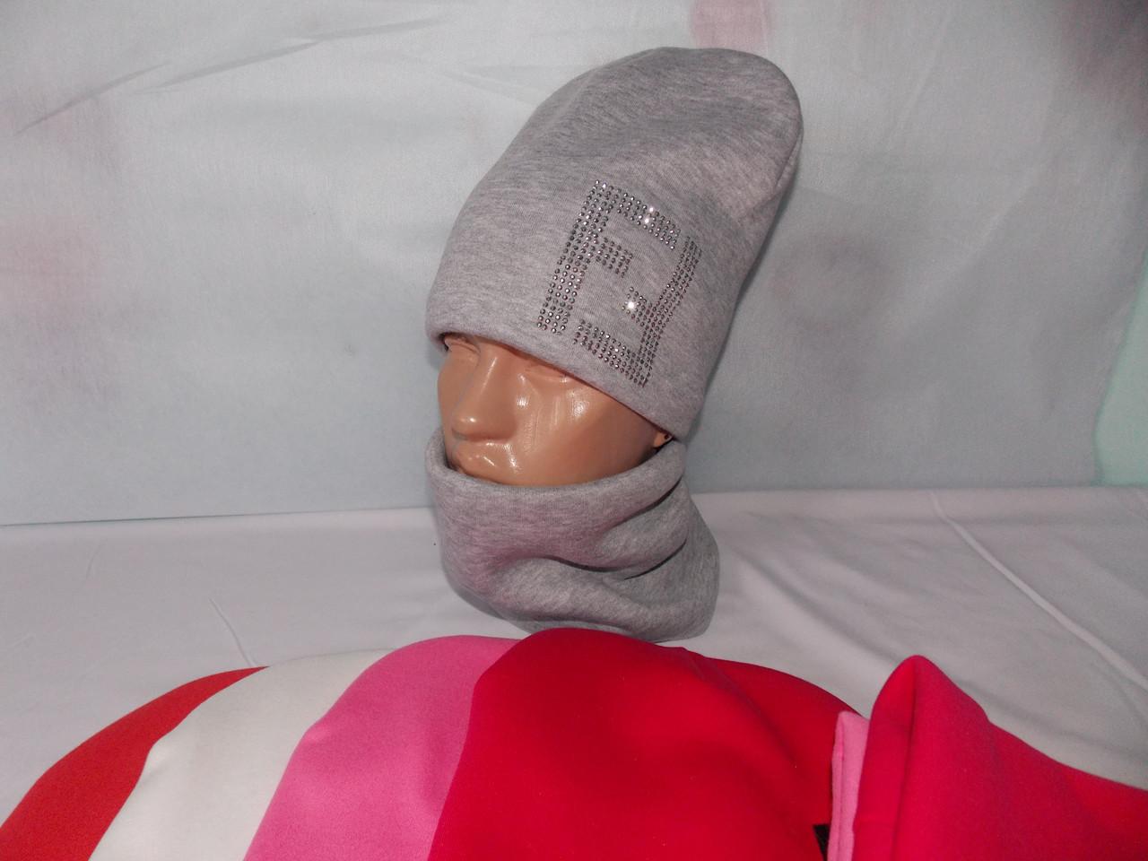 """Шапка и шарф, баф на девочку зимняя, тёплая на Флисе, модный принт """"FENDI"""", размер 52-54."""