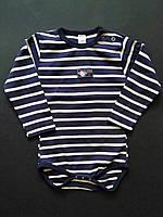 Боди детский с длинным руковом на кнопках, в бело-синюю полоску 74см  80см 92см