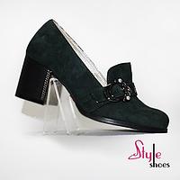 Туфли женские замшевые цвета малахит