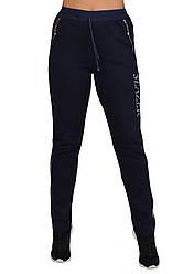 Теплые спортивные штаны женские зимние на флисе с карманами, темно синие