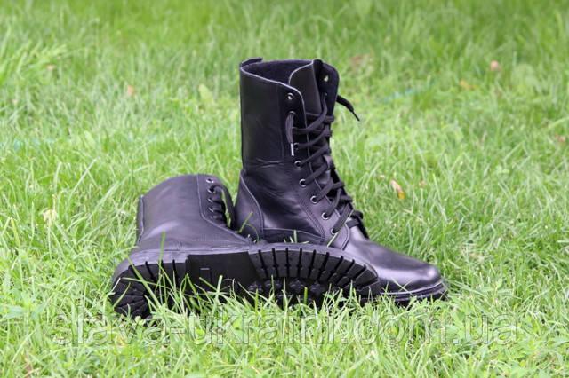 Берцы военные кожаные черные