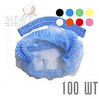 Шапочка-гармошка на 1-ой резинке (100 шт) из нетканого материала.Polix. Цвета голубой