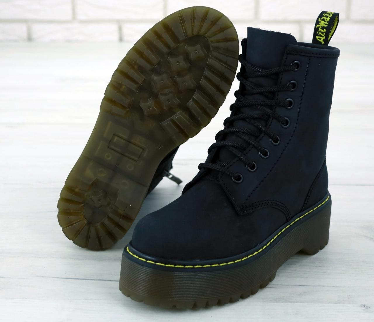 Женские ботинки Dr.Martens Black JADON натурал кожа crazy, демисезон черные. ТОП Реплика ААА класса.
